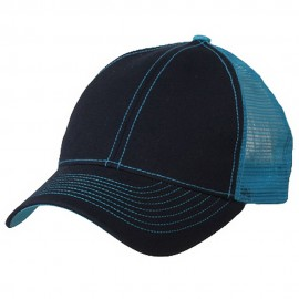 Low Profile Structured Trucker Cap-Navy Aqua