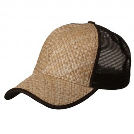Straw Trucker Cap-Natural Brown