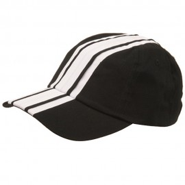 Racing Stripe Cotton Twill Cap-Black White