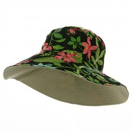 Reversible Wide Brim Printed Hat - Black