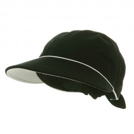 Piping Decoration Ladies Canvas Cap-Black