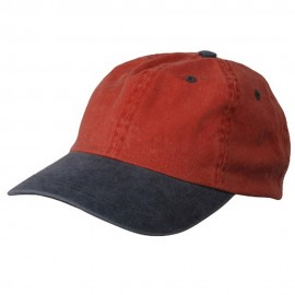 Pigment Dyed Wash Caps-Orange Navy