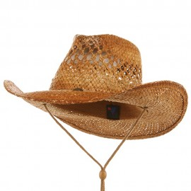 Vented Tea Stained Raffia Hat with String