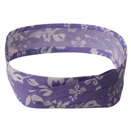 Pleated Fabric Print Hat Bands - S Hawaiian Flower Lilac