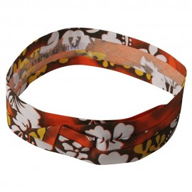 Pleated Fabric Print Hat Bands - W Flower Orange