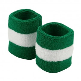 Terry Stripe Wristband Pair-Kelly White