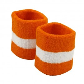 Terry Stripe Wristband Pair-Orange White