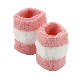 Terry Stripe Wristband Pair-Pink White