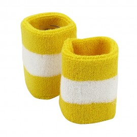 Terry Stripe Wristband Pair-Yellow White