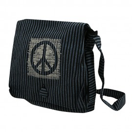 Navy Cotton Stripe Peace Messenger Bag-Black Navy