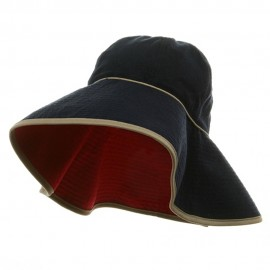 UV Ladies Reversible Terry Cloth Wide Brim Hat - Navy Red