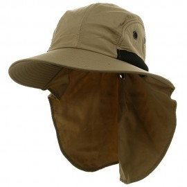 UV 4 Panel Large Bill Flap Hat-Khaki