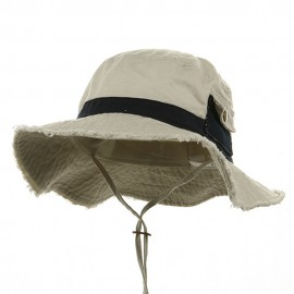 Washed Frayed Bucket Hats-Putty Navy