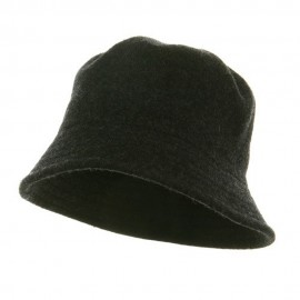 Wool Bucket Hat with Stitches-Charcoal Grey