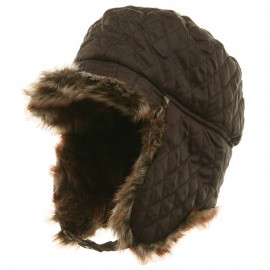 Quilted Trooper Fur Hat-Brown