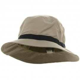 Oversized Water Repellent Brushed Golf Hat - Khaki Navy