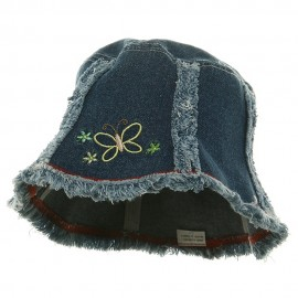 Denim Hat - Dk. Blue With Butterfly
