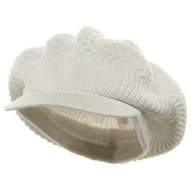 Crown Plain Beanie Visor-White