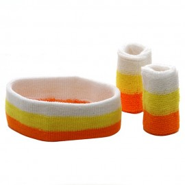 Tri Color Head and Wrist Band Set-Orange Yellow White