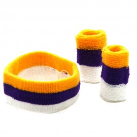 Tri Color Head and Wrist Band Set-Gold Purple White