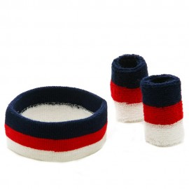 Tri Color Head and Wrist Band Set-Blue Red White