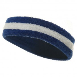 Terry Stripe Headband-Royal White