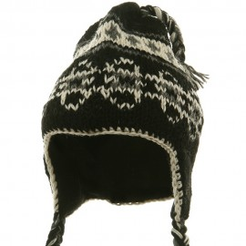 Ring Jacquard Knitting Beanie-Black