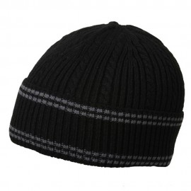 New Cable Cuff Beanie-Black Grey