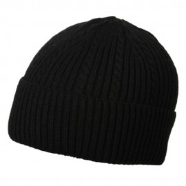 New Cable Cuff Beanie-Solid Black