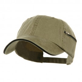 Low Profile Washed Side Zipper Pocket Cap - Khaki Navy