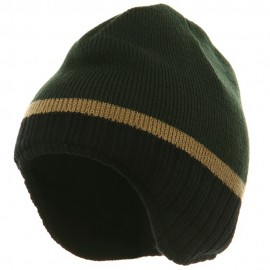 Three Tone Ear Flap Beanie-Forest Black Khaki