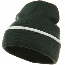 Color Trim Long Beanie-Dk Green White