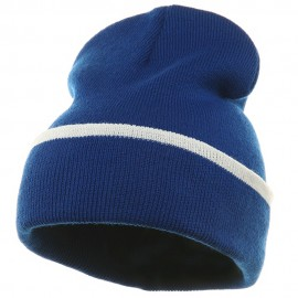 Color Trim Long Beanie-Royal White