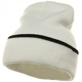 Color Trim Long Beanie-White Black