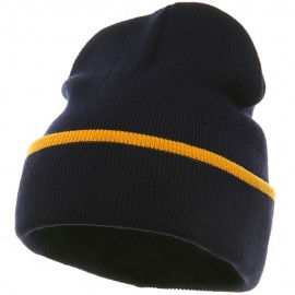 Color Trim Long Beanie-Navy Gold