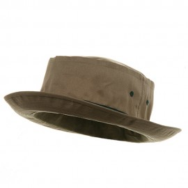 Big Size Roll Up Bucket Hat - Khaki With Dk Green