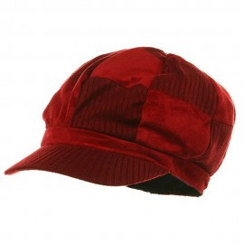 Suede Corduroy Checker Newsboy Cap-Red