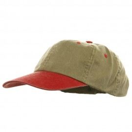 Youth Pigment Dyed Washed Cap - Khaki Red