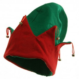 Felt Elf Hat With Bells - Green Red
