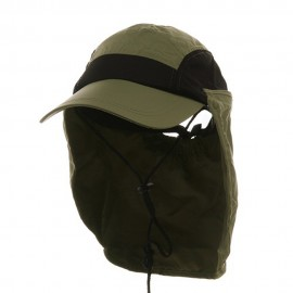Ladies Removable Neck Guard Hat - Khaki
