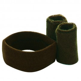 Solid Color Head and Wrist Band Set-Brown