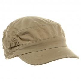 Washed Cotton Fitted Army Cap-Khaki