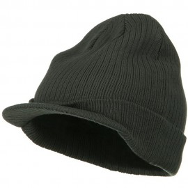 Big Knit Ribbed Beanie with Visor - Charcoal