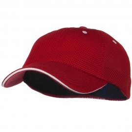 Deluxe Mesh Sandwich Bill Fitted Cap - Red White