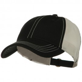 Unstructured Cotton Twill Mesh Cap - Black Putty