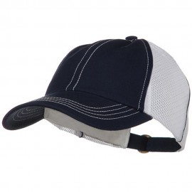 Unstructured Cotton Twill Mesh Cap - Navy White