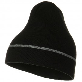Contrast Stitched Solid Beanie
