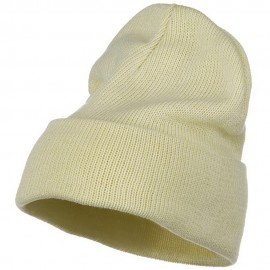 Plain Cuff XL Size Cotton Beanie - Natural