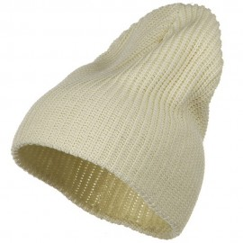 Ribbed Classic XL Size Cotton Beanie - Natural