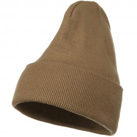 Big Stretch Plain Cuff Long Beanie - Sand